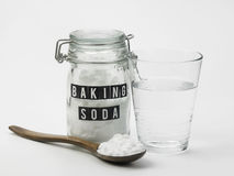 Baking soda. And glass of water Royalty Free Stock Image