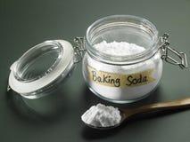 Baking soda. Jar of baking soda on the blackboard Stock Images