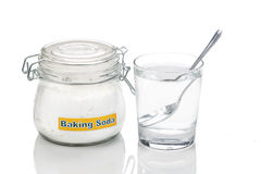 Baking soda in jar, spoonful and glass of water for multiple hol Stock Image
