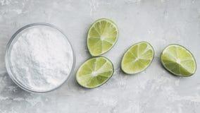 Baking soda and lemon stock image