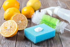 Baking soda and lemon on wooden table. Baking soda and lemon. Eco-friendly natural cleaners baking soda, lemon and cloth on wooden table stock photography