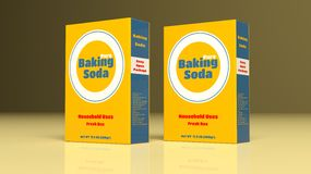 Baking soda paper packages. 3d illustration. Baking soda paper packages on colored background. 3d illustration Royalty Free Stock Photos