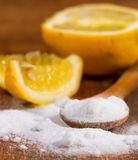 Baking soda (sodium bicarbonate) in a wooden spoon Stock Photography