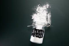 Baking soda. Top view of baking soda on the blackboard stock photography