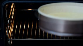 Baking sponge cake in oven, homemade bake. Baking sponge cake in oven, homemade bake stock footage
