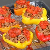 Baking Stuffed Peppers Royalty Free Stock Photography