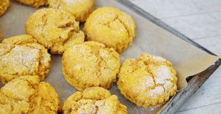 Baking sweet potato scones Royalty Free Stock Image