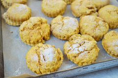Baking sweet potato scones Stock Images