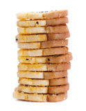 Baking toast with sugar and sesame stack on white background Stock Photos