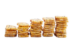 Baking toast with sugar and sesame stack on white background royalty free stock image