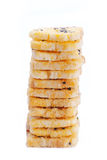 Baking toast with sugar and sesame stack on white background royalty free stock photography