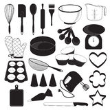 Baking Tool Icons Set. Black and white Baking Tool Icons Set royalty free illustration