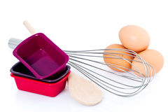 Baking tools and eggs Stock Images