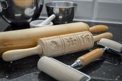 wooden rolling pins and springerle shapes Royalty Free Stock Images