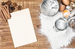 Baking tools ingredients Dough preparation Recipe book. Baking tools and ingredients. Dough preparation. Food background. Recipe book concept Royalty Free Stock Images