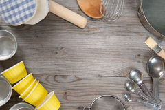 Baking tools from overhead view Royalty Free Stock Photos