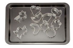 Baking Tray and Cake forms Stock Photos