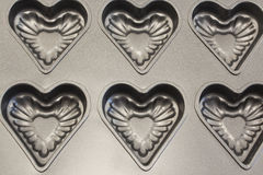 Baking Tray of Cookies in the Shape of Heart Stock Images