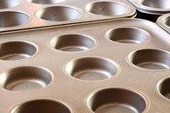Baking trays. Photograph of metal baking trays in a kitchen Royalty Free Stock Images