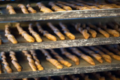 Baking trays with breadsticks. Baking trays with cooked breadsticks cooling in bakery, close-up full frame image Royalty Free Stock Photography