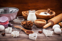 Baking utensils and ingredients Stock Photos