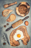 Baking utensils and ingredients vintage toned Royalty Free Stock Photo