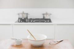 Baking utensils on table Royalty Free Stock Photo