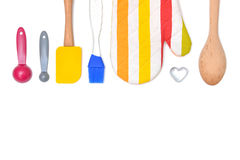 Baking utensils from top view on white background