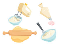 Baking vector set. Baking set. Mixer or whisk whipped cream, roll out dough with rolling pin, decorate cakes with cream from pastry bag. Bakery process vector vector illustration