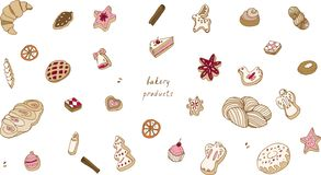 Baking on a white background vector illustration. Christmas cookies seamless pattern. vector illustration