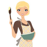 Baking woman with bowl Royalty Free Stock Image