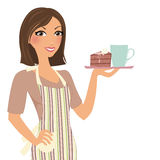 Baking woman with cake vector illustration