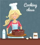 Baking woman with cake Stock Image