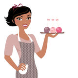 Baking woman with cakepops stock illustration