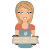Baking woman with dog cookies. Girl holding baking tray with dog bone biscuits vector illustration
