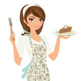 Baking Woman with pie Royalty Free Stock Image