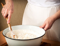 Baking_3. Woman who is cooking dumplings Stock Photos
