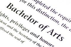 Bakkalaureus der Künste Kennzeichnung lizenzfreies stockfoto