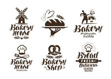 Bakkerij, bakkerijetiket of embleem Brood, gebakken goederen, voedselsymbool Typografische ontwerp vectorillustratie vector illustratie