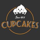 Bakkerij Cupcake sinds van 1975 Donkere Vector Als achtergrond Stock Afbeelding