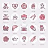 Bakkerij, de pictogrammen van de banketbakkerijlijn Zoet winkelproduct - de cake, croissant, muffin, gebakje, cupcake, pasteivoed royalty-vrije illustratie