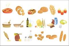 Bakkerij en banketbakkerswerkenpictogrammen met diverse soorten brood, zoete broodjes, cupcakes, deeg en cakes voor bakkerijwinke royalty-vrije illustratie
