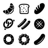 Bakkerij en Brood Geplaatste Pictogrammen Stock Foto's
