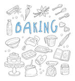 Bakkerij en dessertkrabbels Hand getrokken vector Stock Afbeeldingen