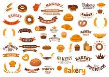 Bakkerij en gebakje de elementen van het voedselontwerp stock illustratie