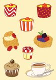 Bakkerij en Theedecoratie Vectorillustratie Royalty-vrije Stock Afbeeldingen