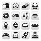 Bakkerij, geplaatste gebakjeknopen - brood, doughnut, cake, cupcake Royalty-vrije Stock Foto's