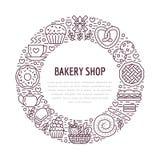 Bakkerij, het malplaatje van de banketbakkerijaffiche De vectorpictogrammen van de voedsellijn, illustratie van snoepjes, pretzel vector illustratie