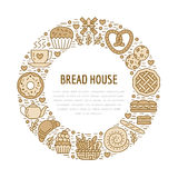Bakkerij, het malplaatje van de banketbakkerijaffiche De vectorpictogrammen van de voedsellijn, illustratie van snoepjes, pretzel Stock Afbeeldingen