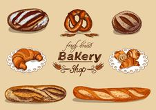 Bakkerij met brood wordt geplaatst dat royalty-vrije illustratie